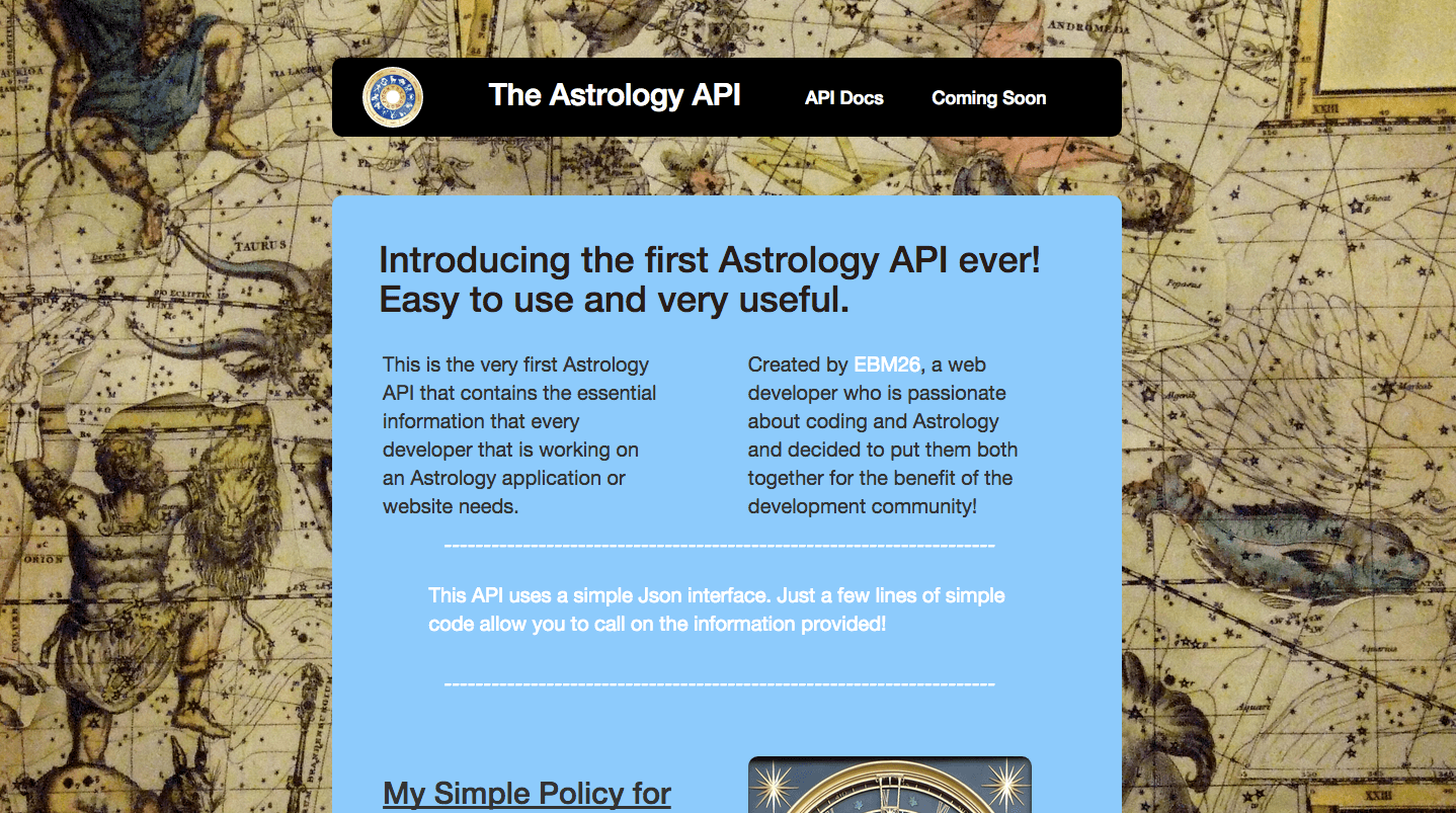 A picture of Eyal Benmoshe's own creation called Astrology API